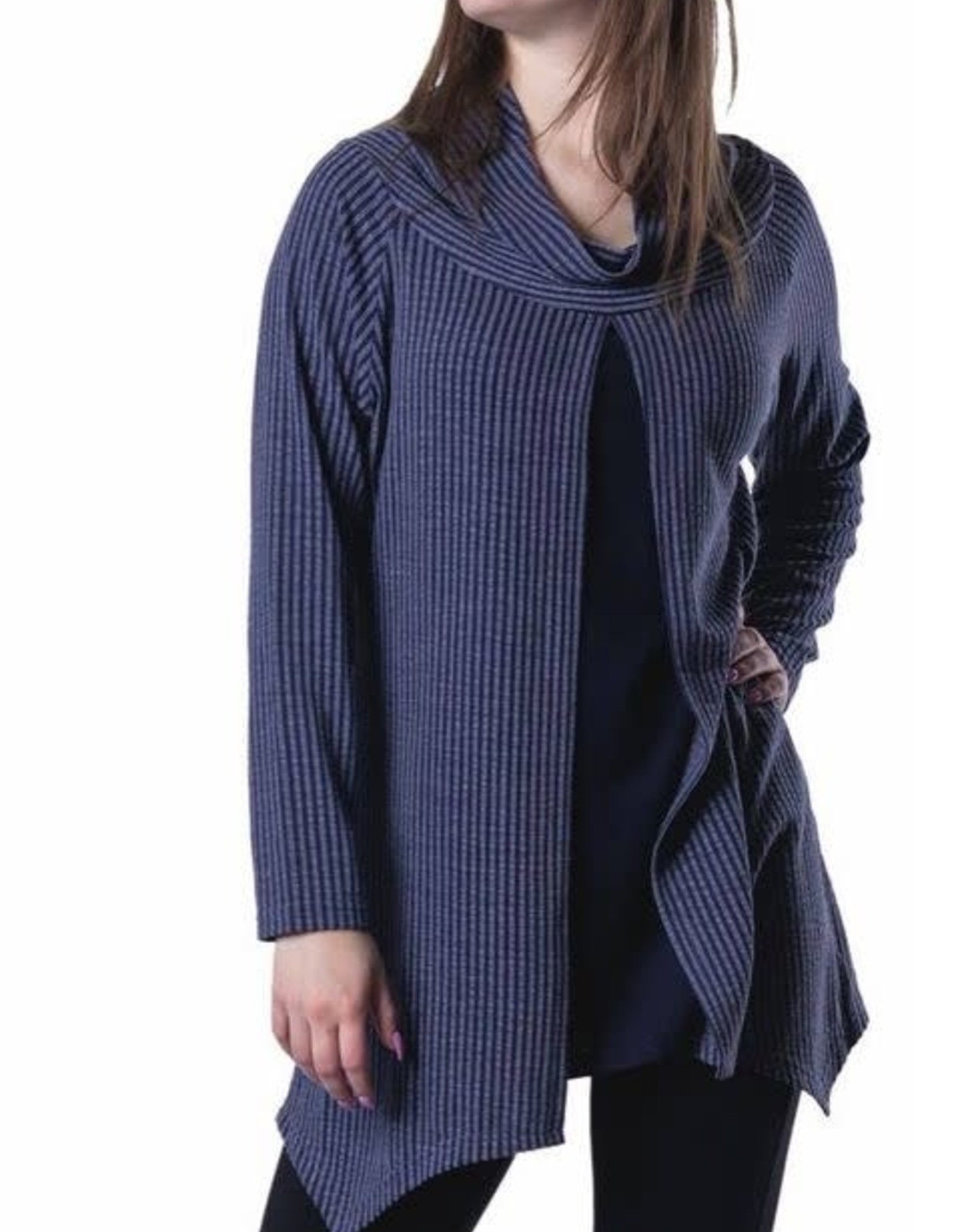 Papa Fashions Striped Tunic With Cowl and Front Pleat