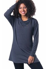 Papa Fashions Tunic with Cowl Neck Button Detail