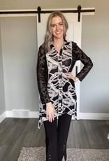 Black and White Lace  Tunic Jacket
