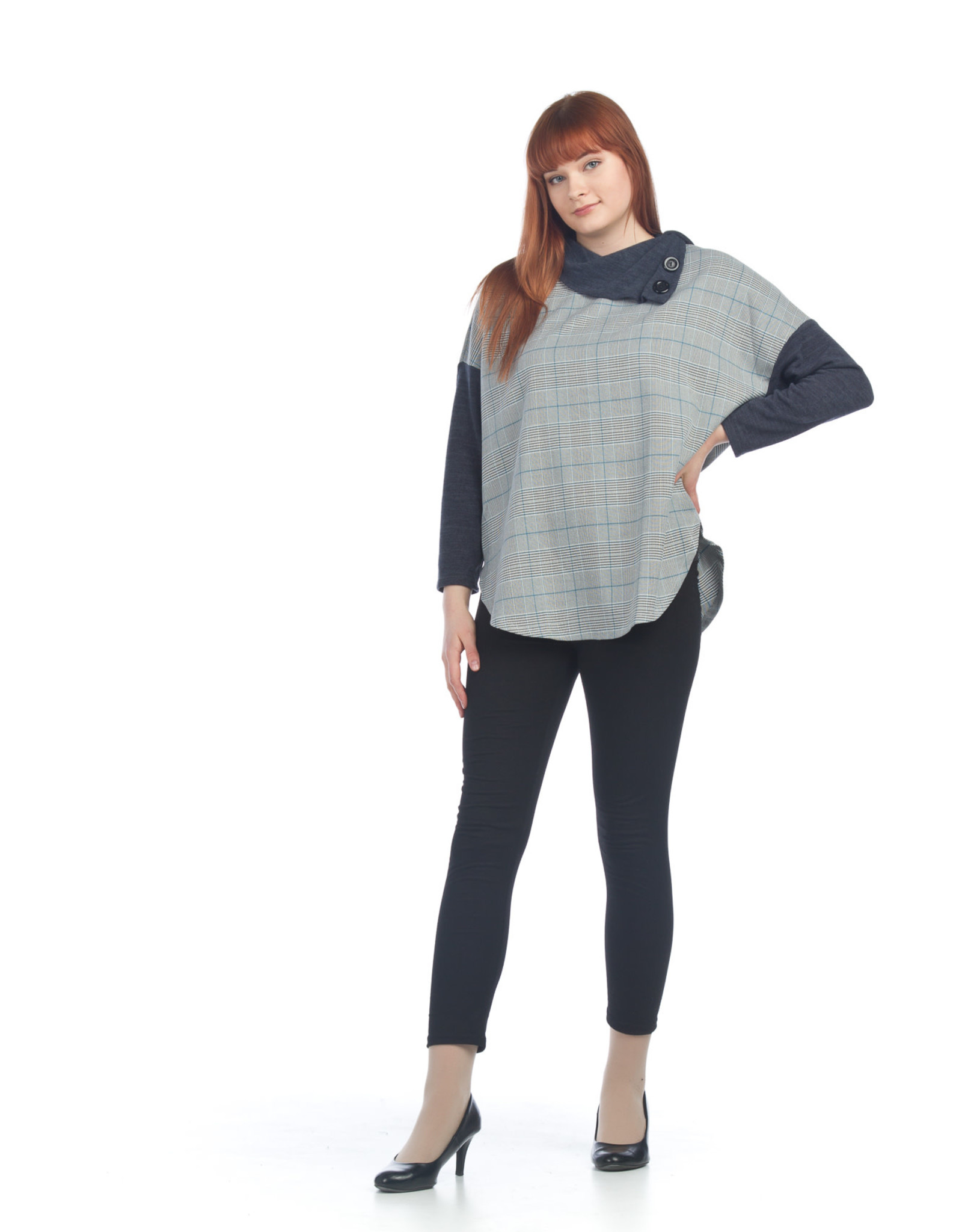 Plaid with Charcoal Collar and Sleeve