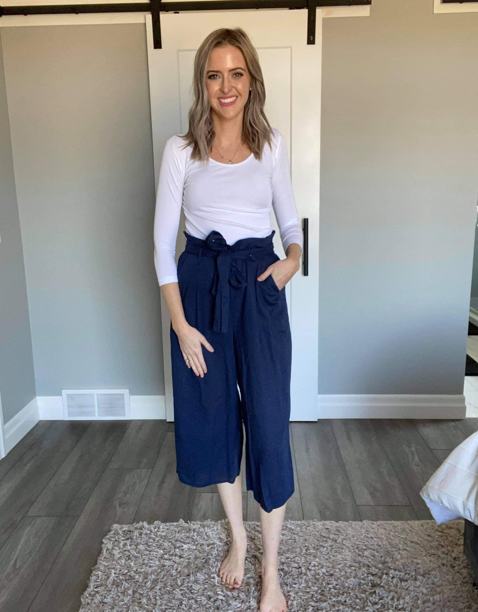 Linen Blend Cropped Pants with Elastic waist
