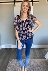 XS Floral  Overlay Blouse