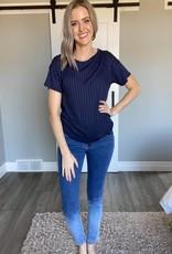 Ribbed Stretchy T-Shirt