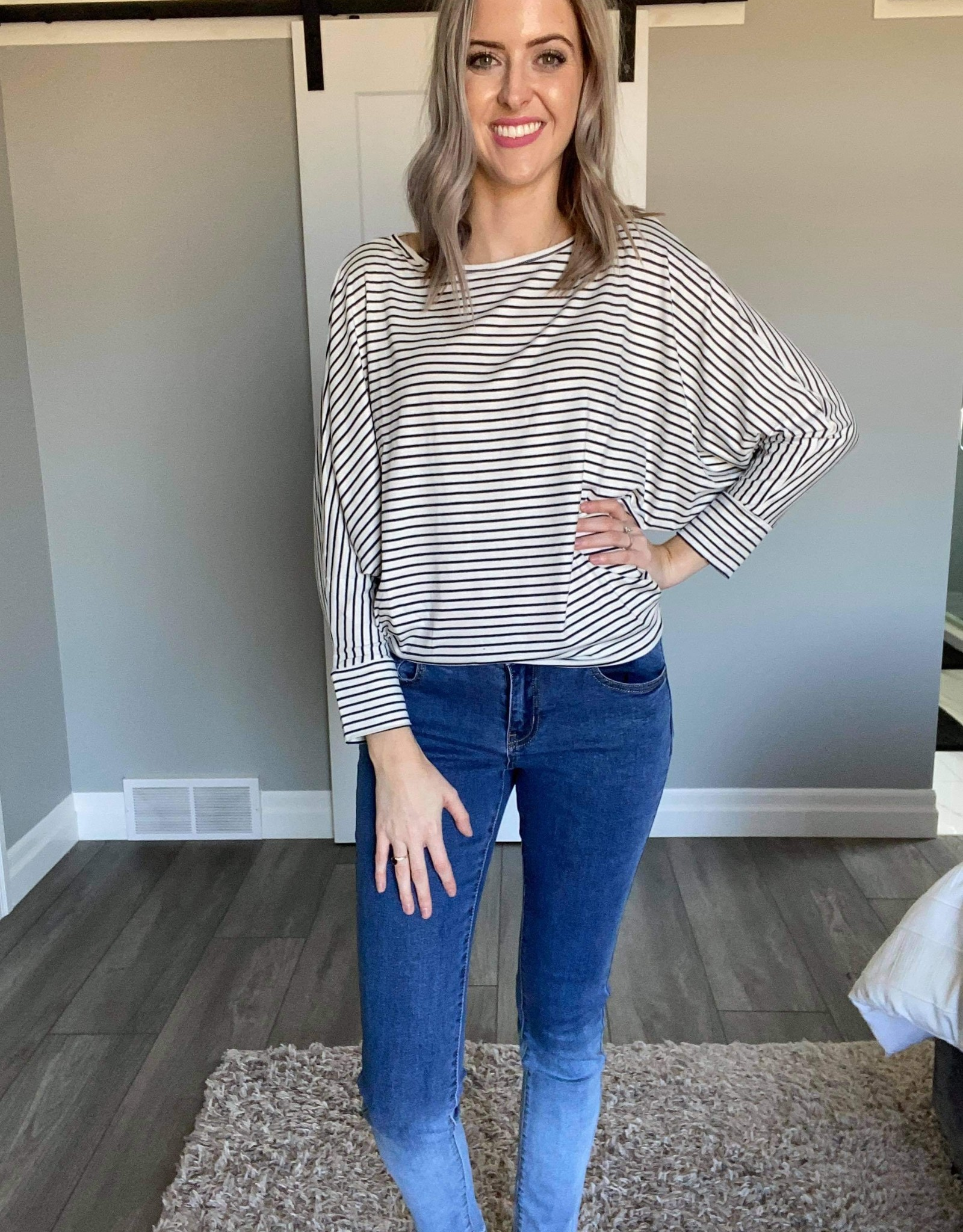 Striped Knit Dolman Sleeve Top
