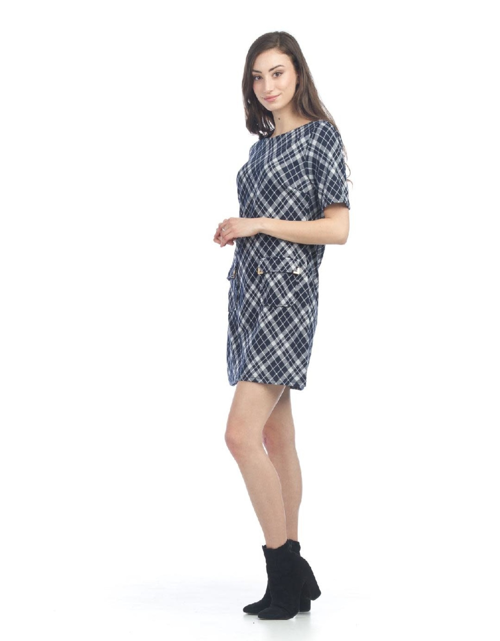 Plaid Sweater Dress with Pockets
