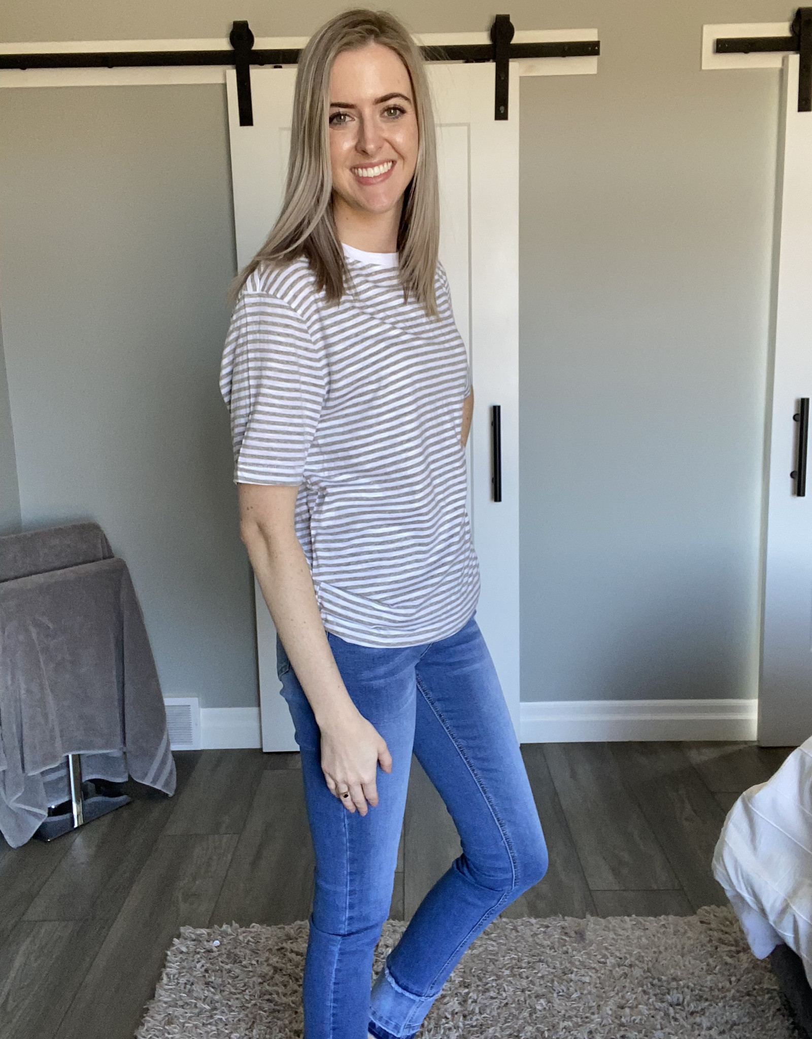 Short Sleeved Striped Nap Jersey