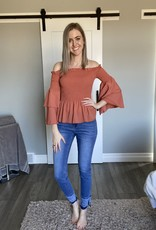 Smocked Over the Shoulder Blouse with Layered