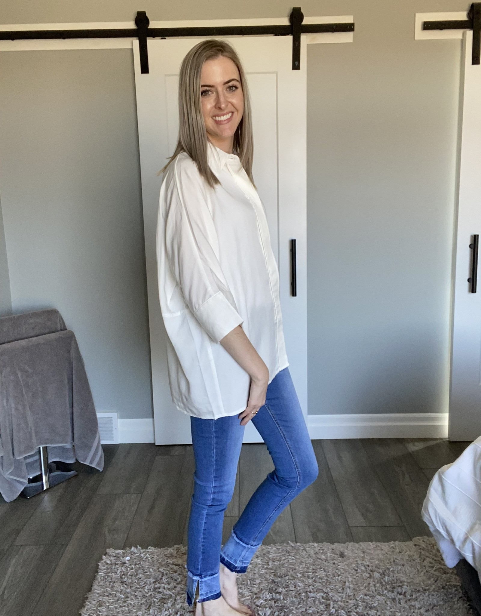 Oversized Blouse  with Button Front