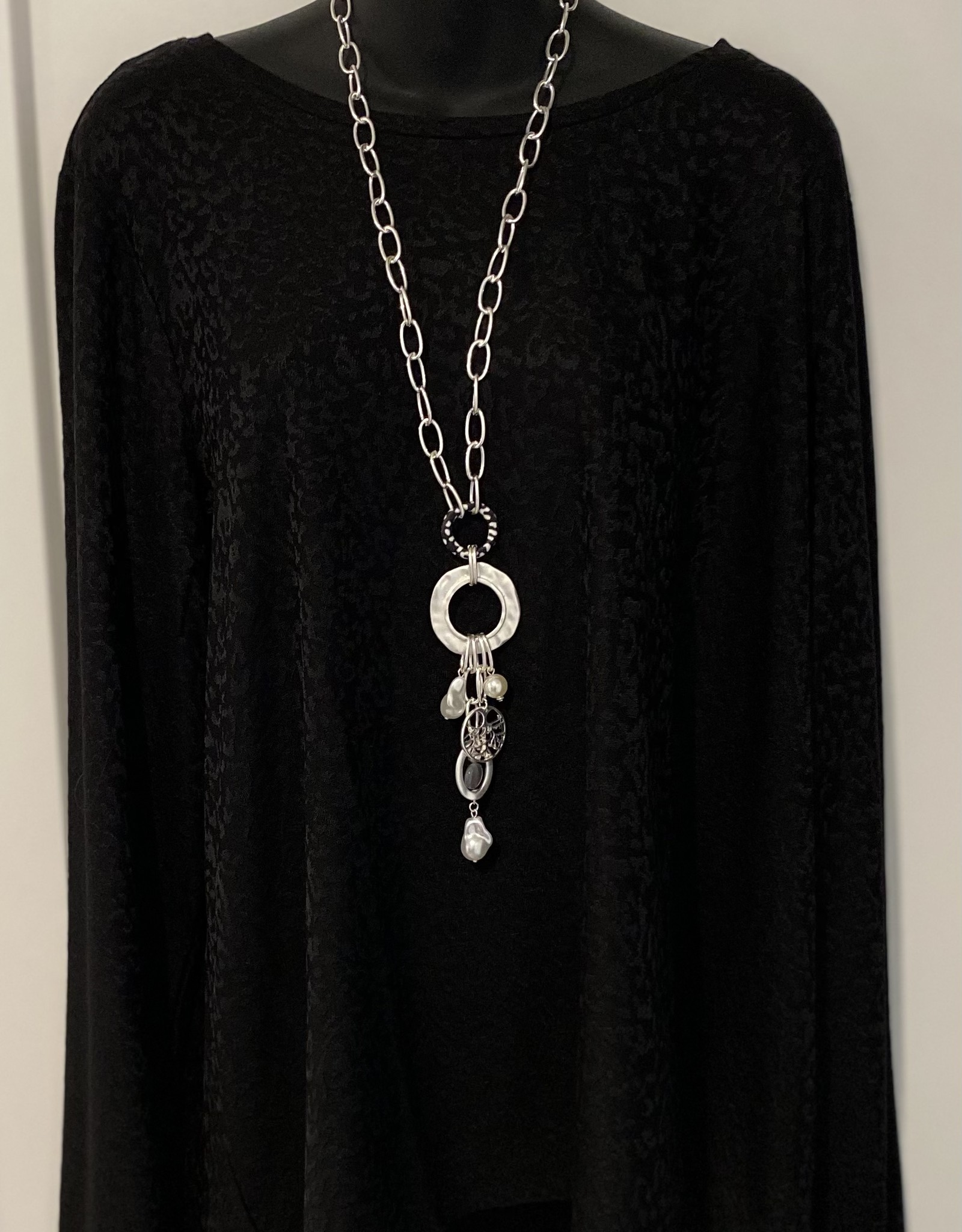 Chain Style Necklace with Loops/ Drop Down Charm Details