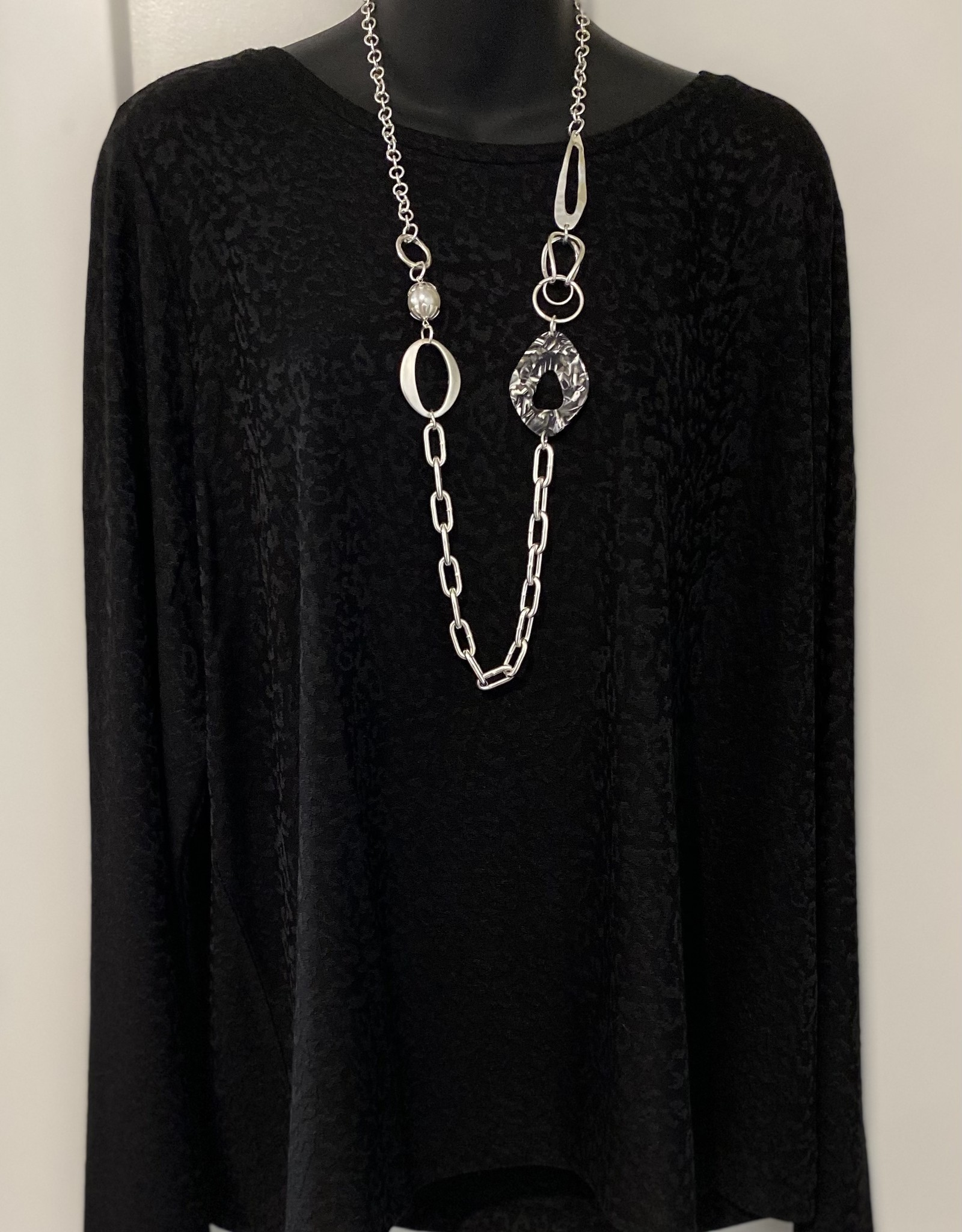 Silver Chain Style Necklace with Embellished Designs