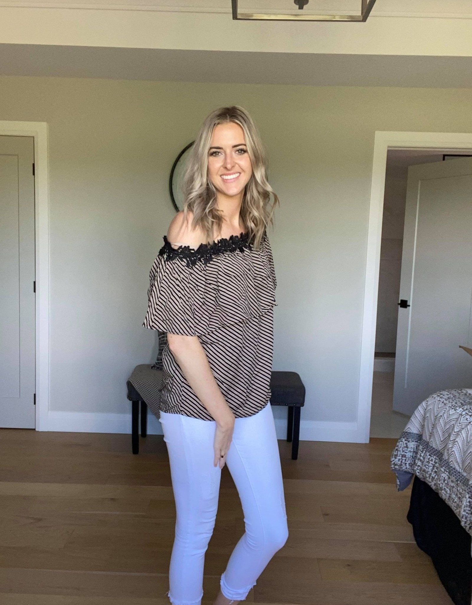 Off the Shoulder Lace Striped Top