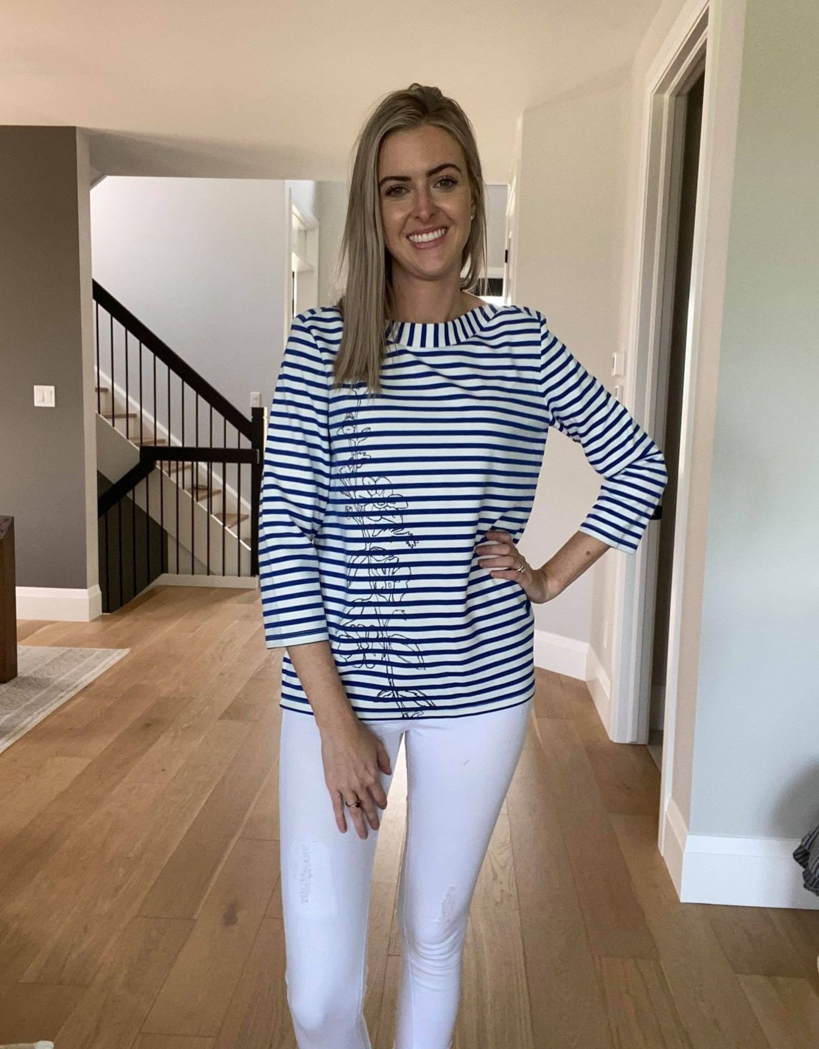 Striped Top with Floral Motiff