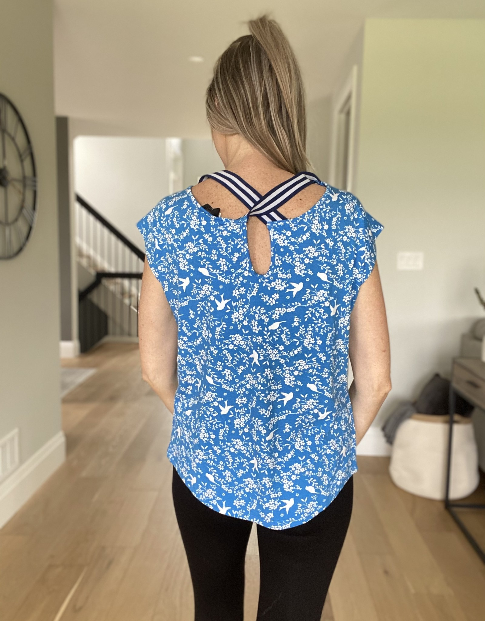 Printed Top with Criss Cross Back