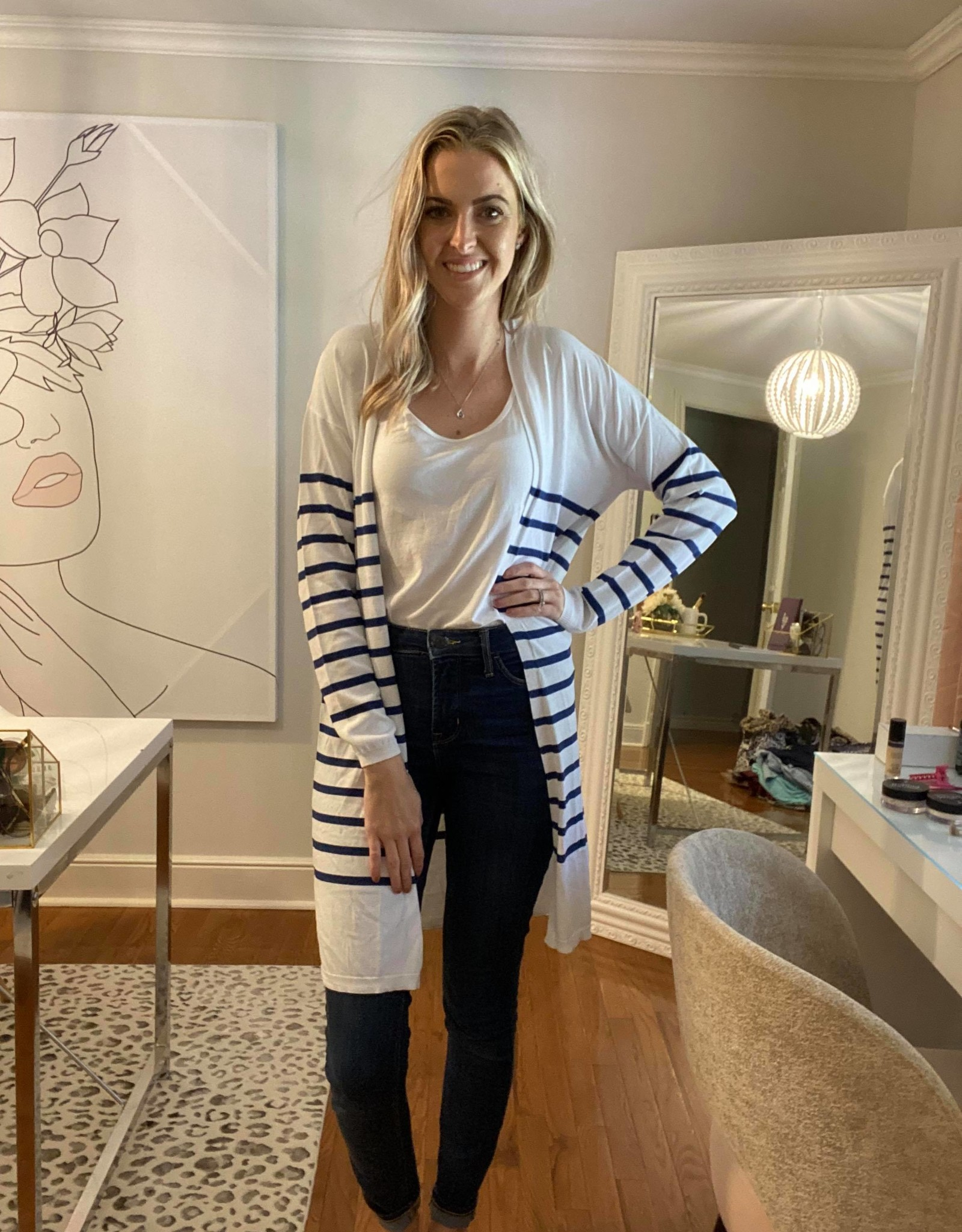 Thin Open Striped Cardigan