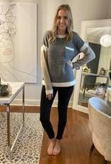 Round neck Colour Block Sweater w pocket