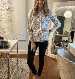 Knit Leopard Print Hoodie
