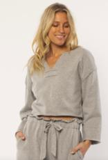 Amuse Women's Shayla Long Sleeve Knit Fleece Top