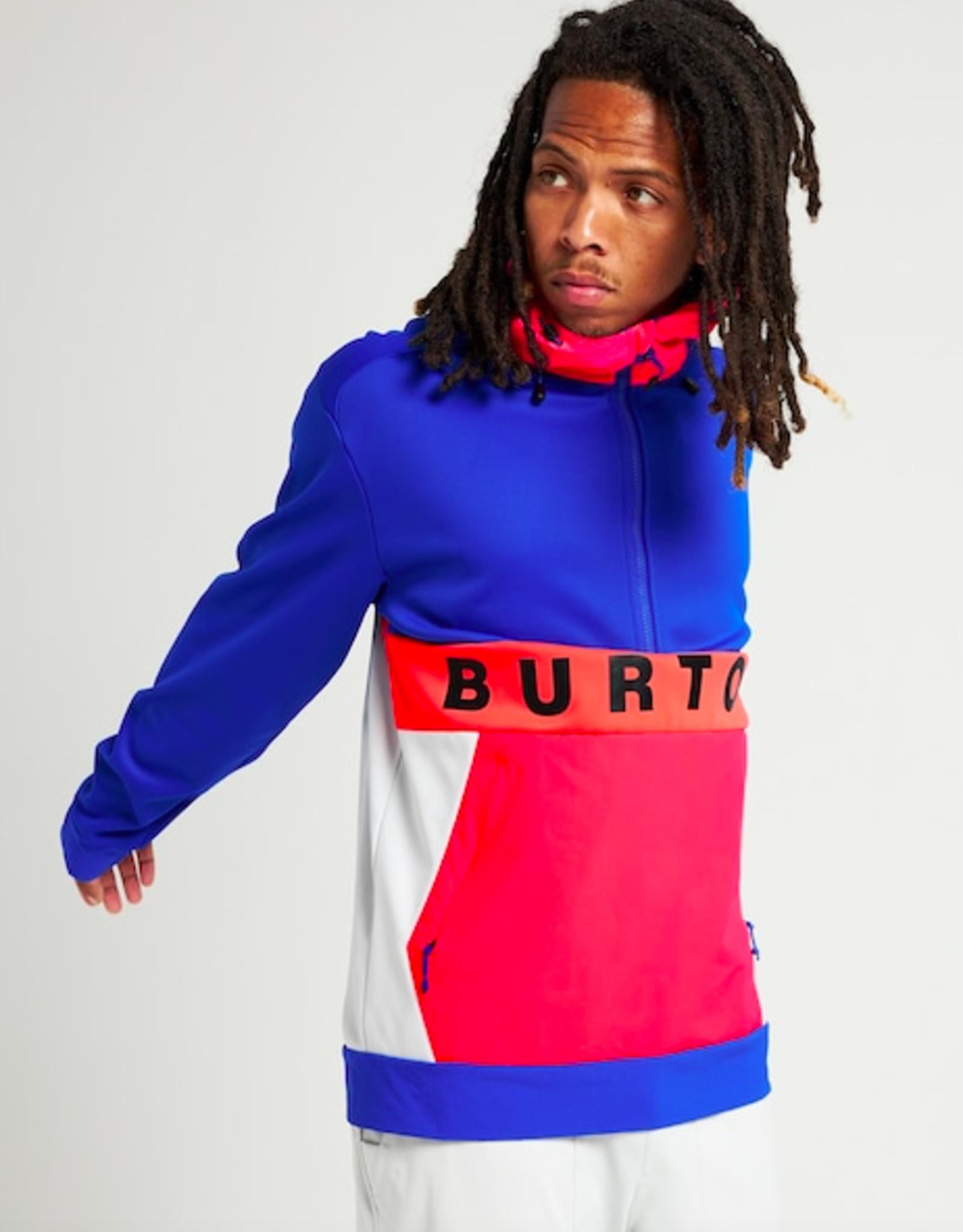 BURTON Burton Men's Crown Weatherproof Performance Pullover Fleece Cobalt Blue/Potent Pink/Lunar Gray