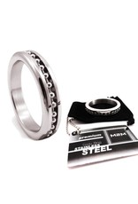 M2M M2M Chrome Cockring with Ball Chain Inlay
