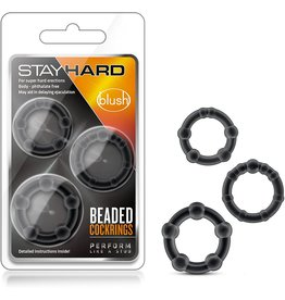 Stay Hard Stay Hard Beaded Cockrings Black