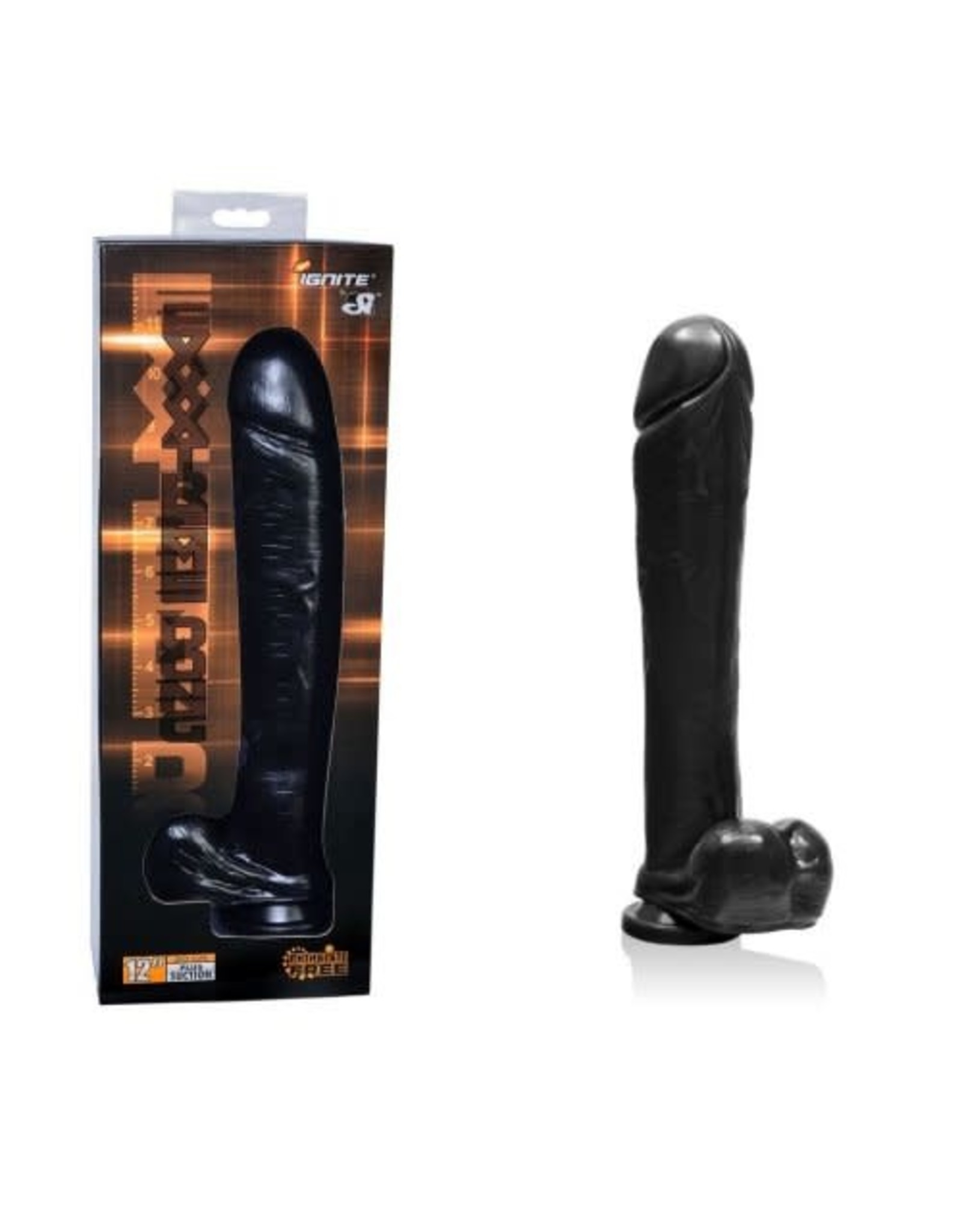 Ignite Ignite 12in Exxtreme Dong with Suction Cup Black