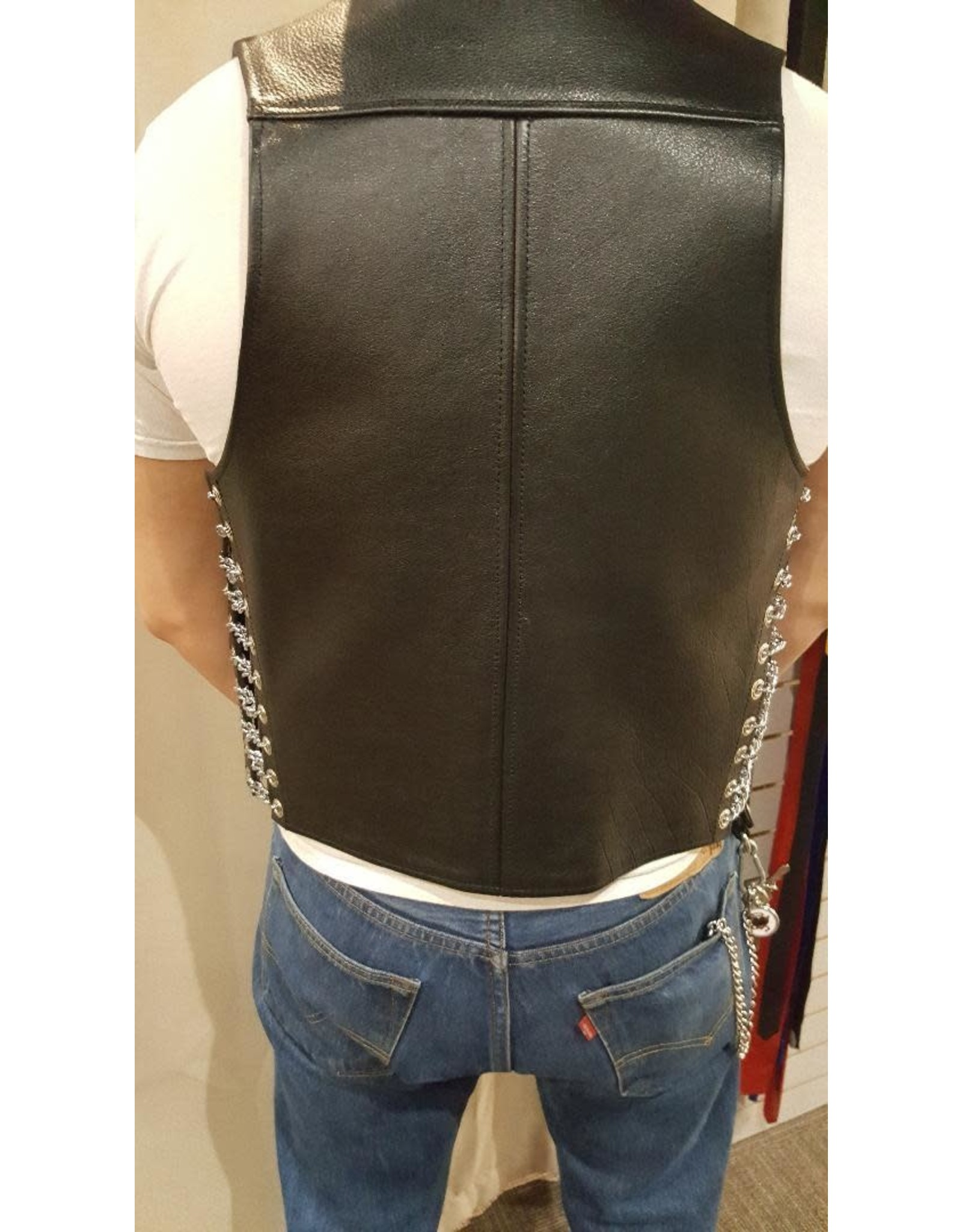 Doghouse Leathers Crafting DH Leathers Bar Vest w/Chain Sides