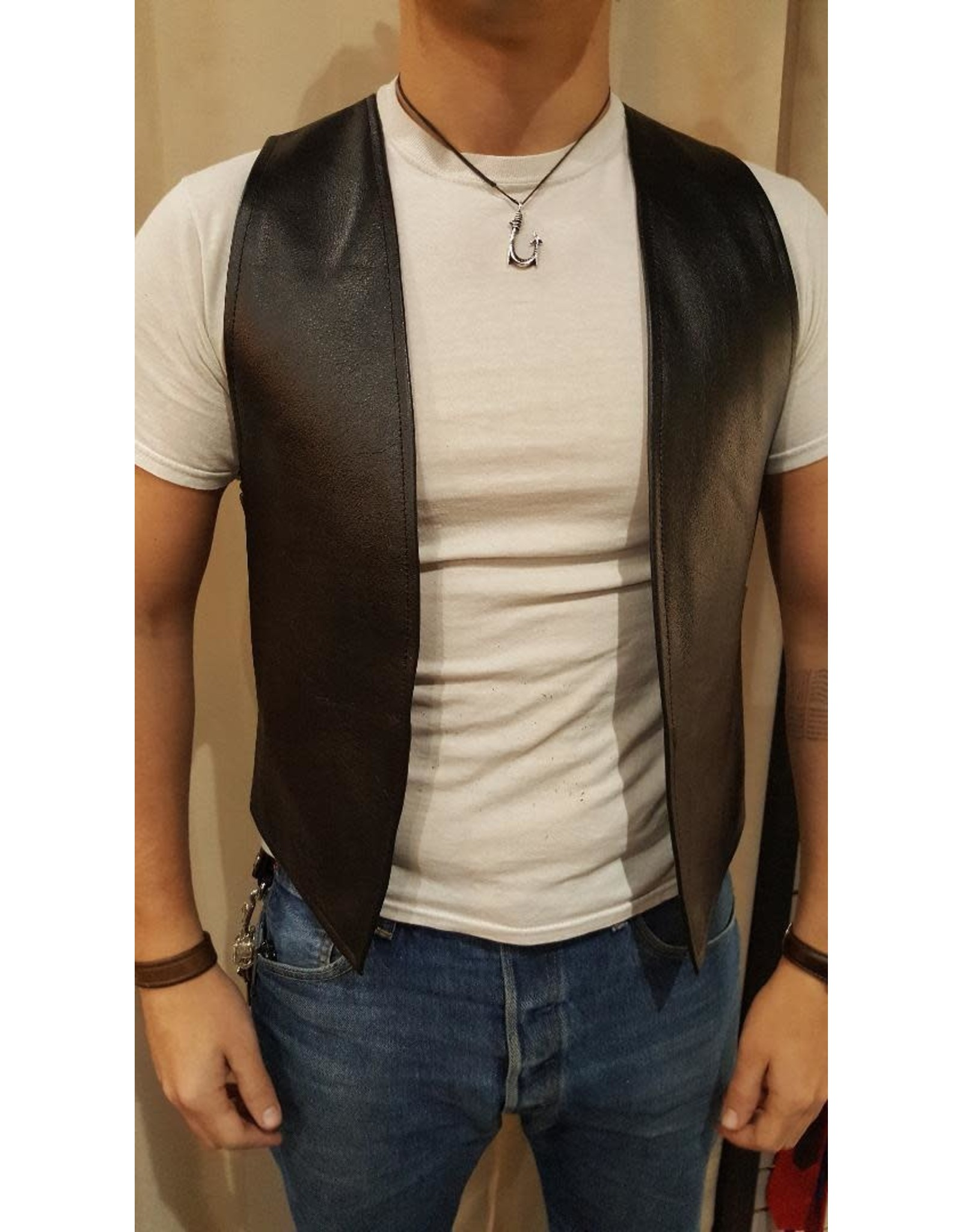 Doghouse Leathers Crafting Doghouse Leathers Bar Vest with Color Stripe