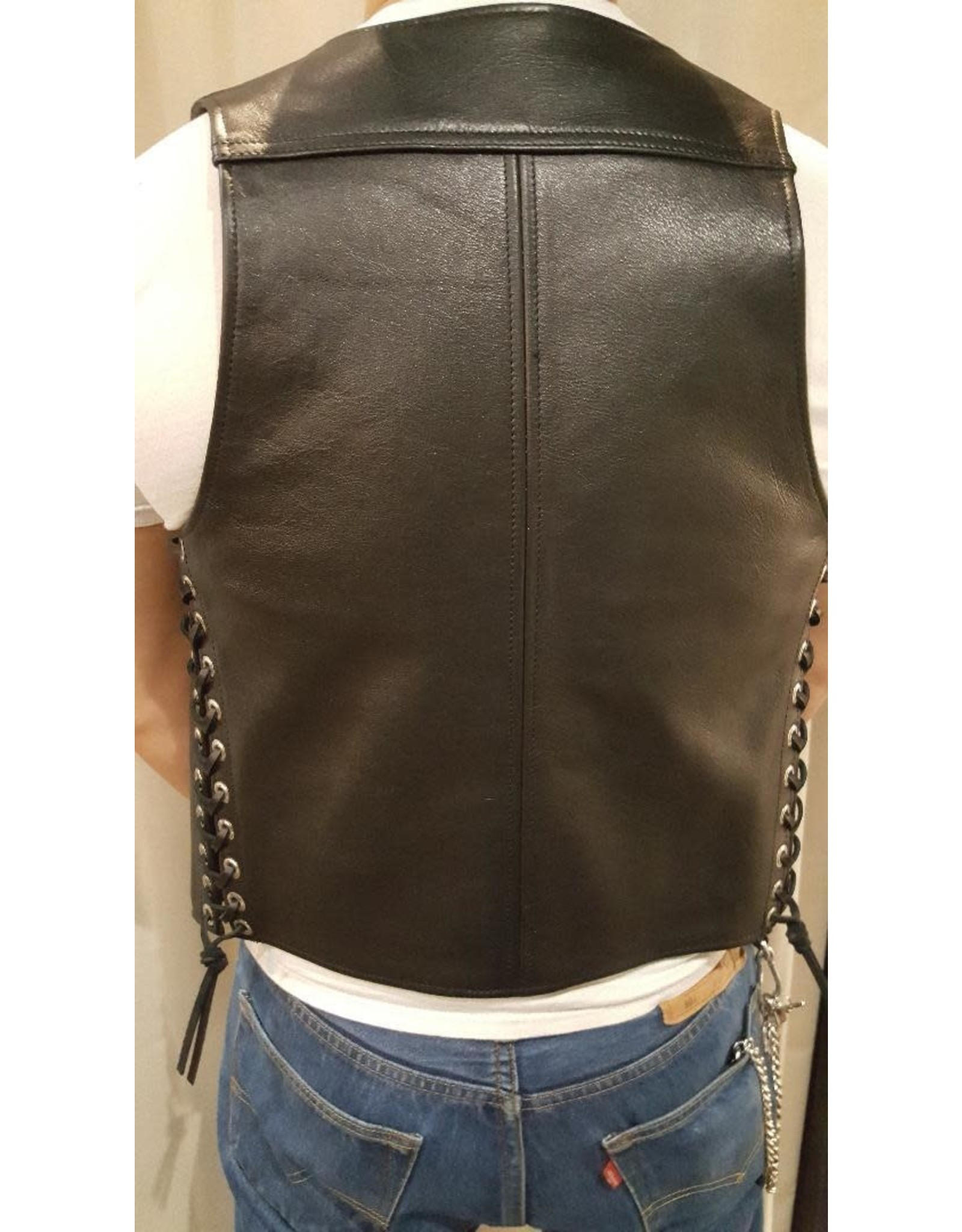 Doghouse Leathers Crafting DH Leathers Bar Vest with Lace Sides