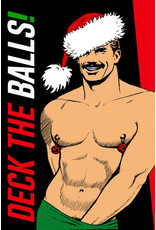 """Peachy Kings Tom of Finland """"Deck the Balls"""" Greeting Card"""