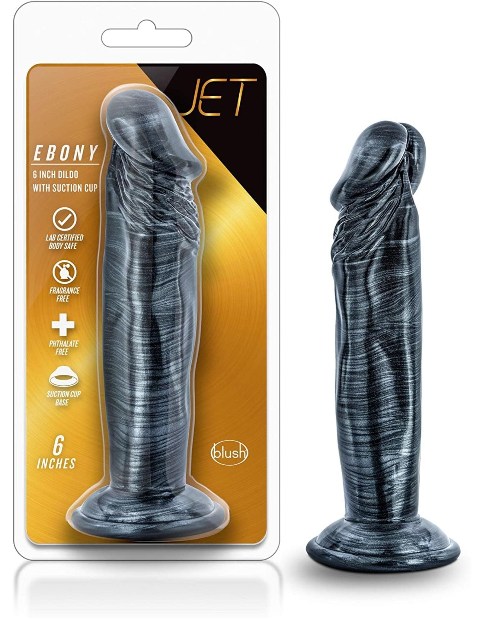 Jet Jet Ebony 6 Inch Dildo Carbon Metallic Black