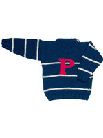 Navy Stripe 'P' Crewneck Sweater