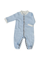 Royal Baby Royal Baby Light Blue Stripe/Navy Sailboat Trim Footie