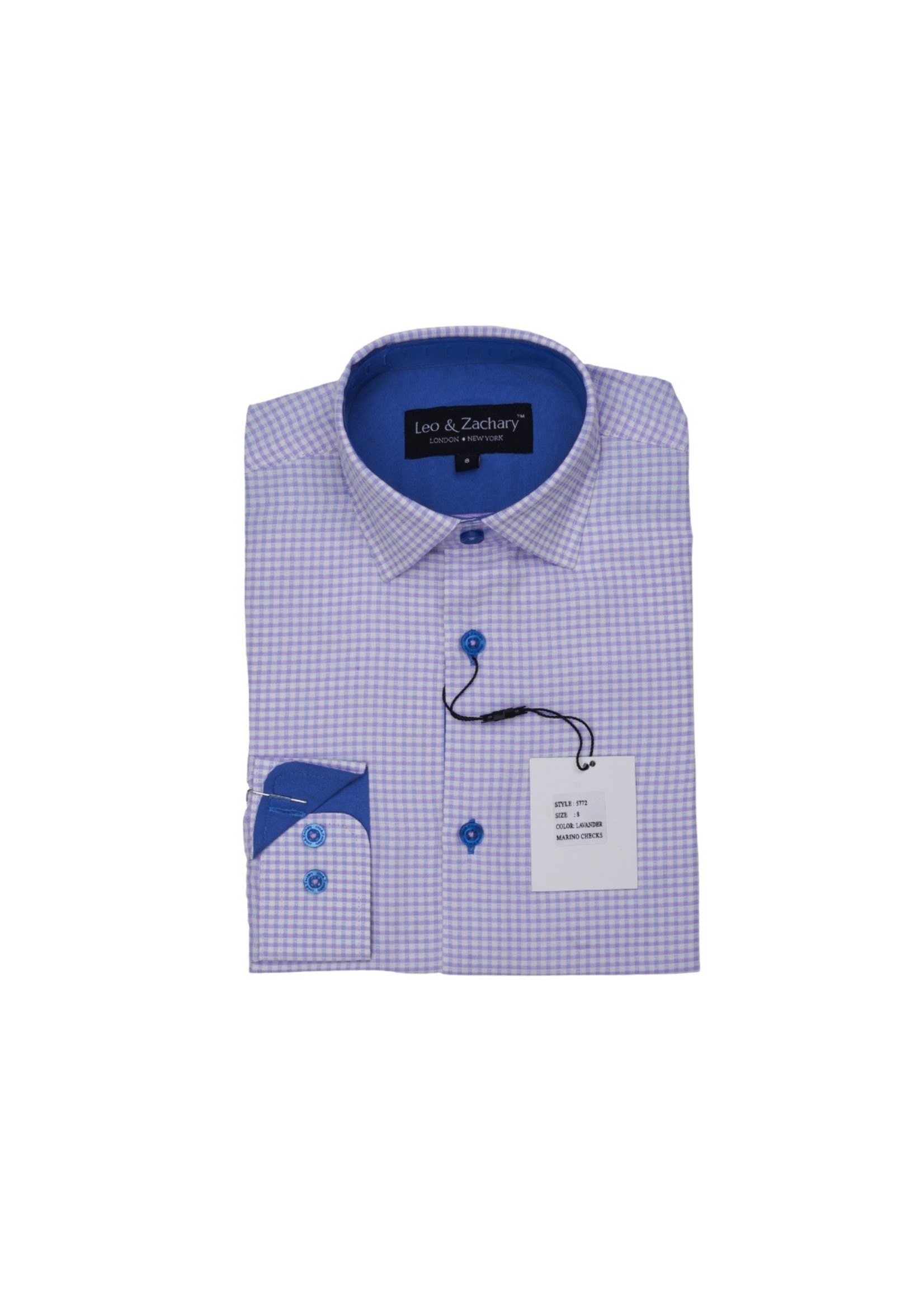 Boys Lavender Check Dress Shirt