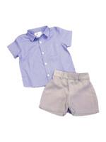Cuclie Cuclie Button Down Shirt and Gray Shorts Set