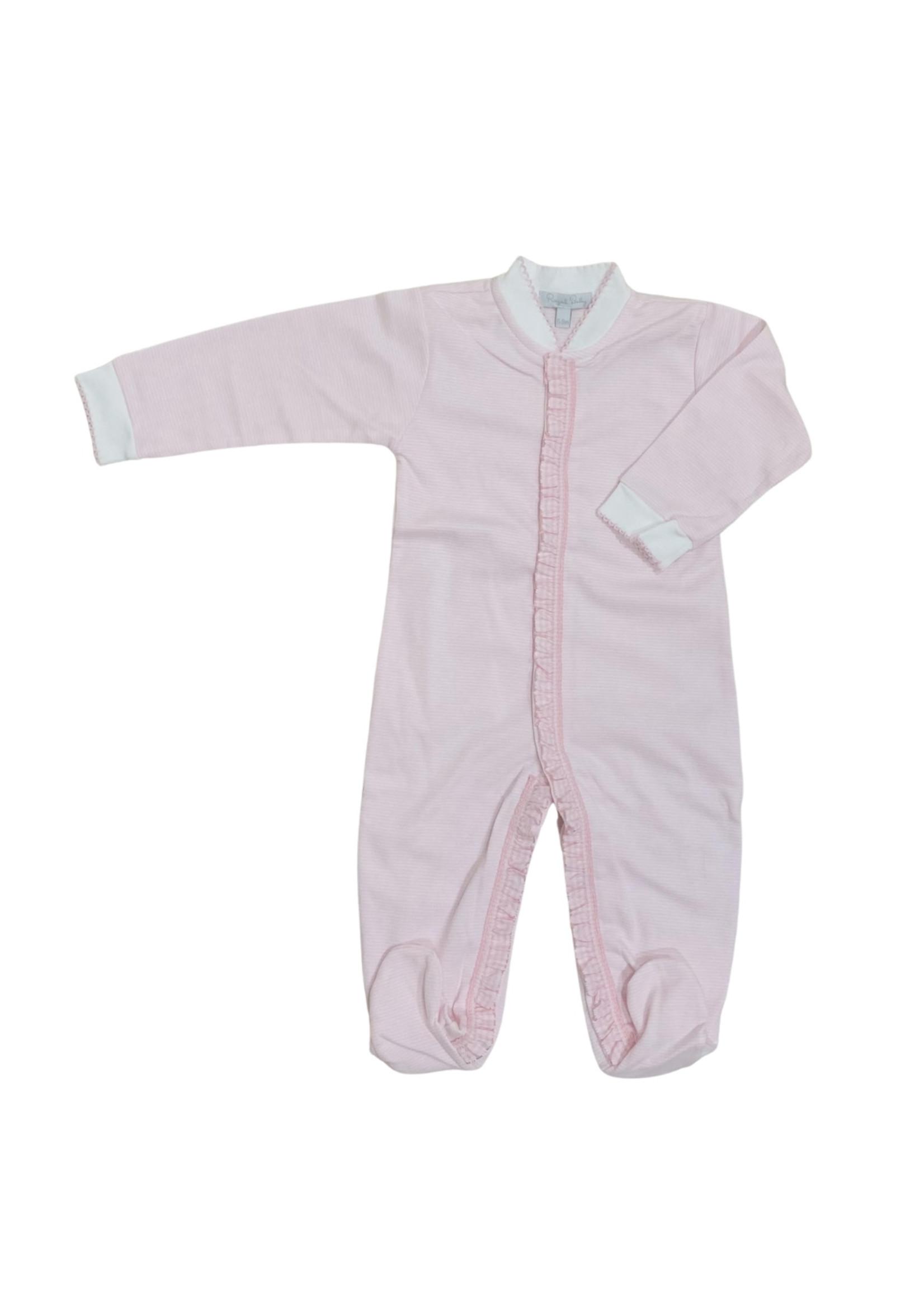 Royal Baby Royal Baby Pink Stripe/Pink Ruffle Trim Footie
