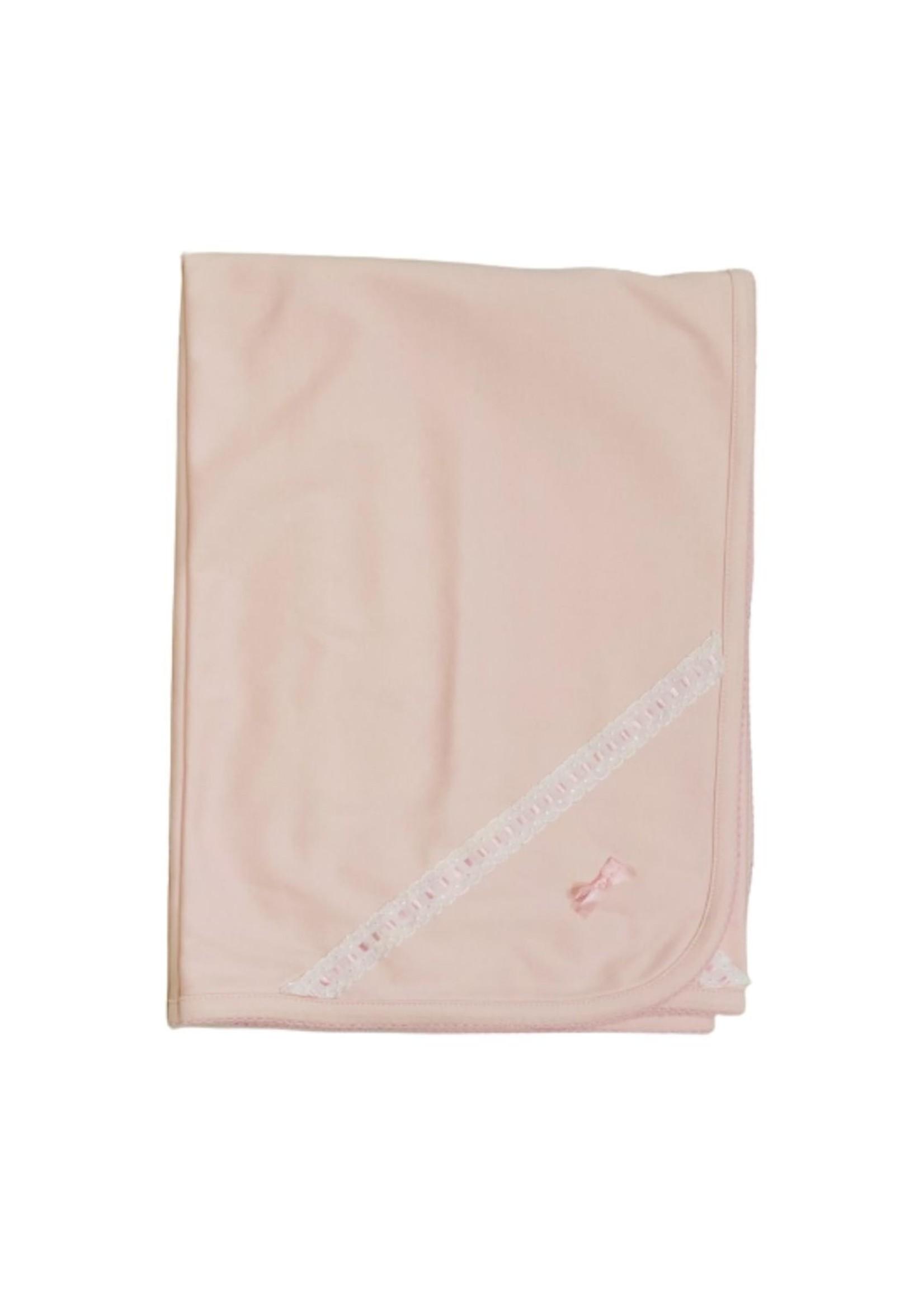 Royal Baby Royal Baby Pink Eyelet Dot Trim Receiving Blanket