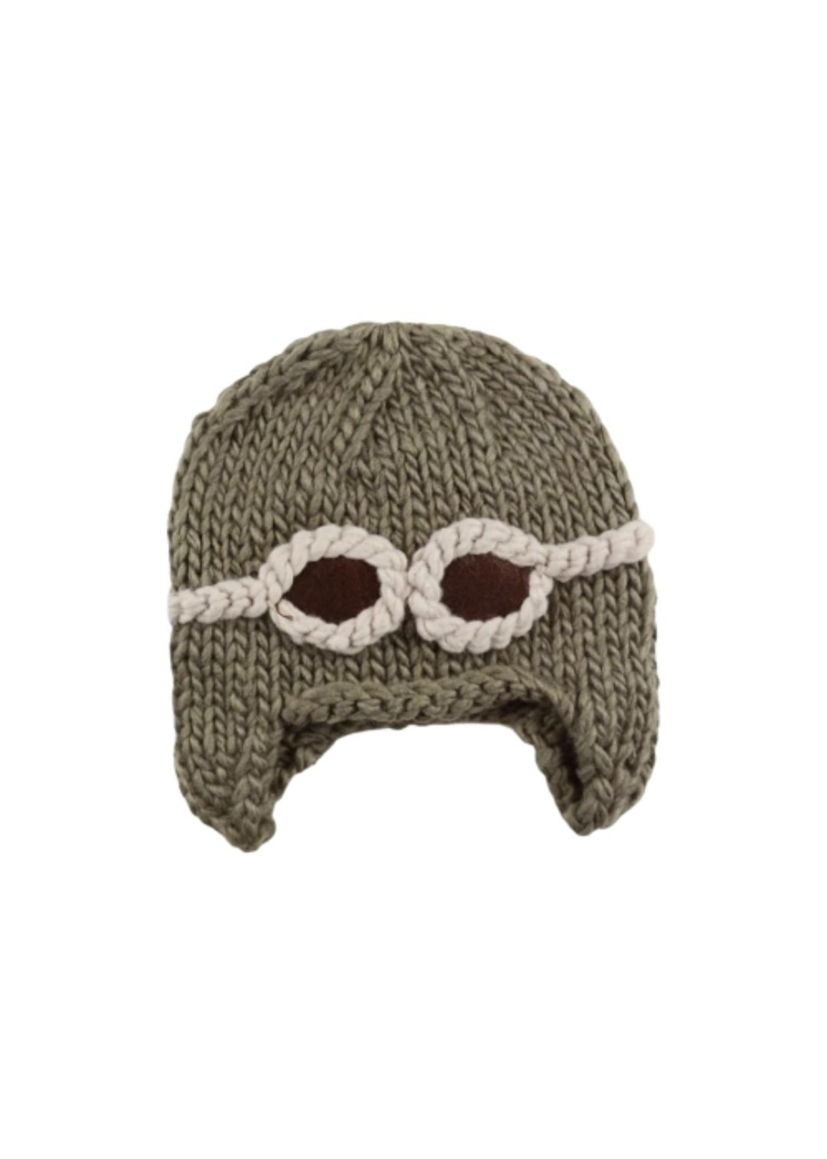 Wilbur Taupe Aviator Knit Hat