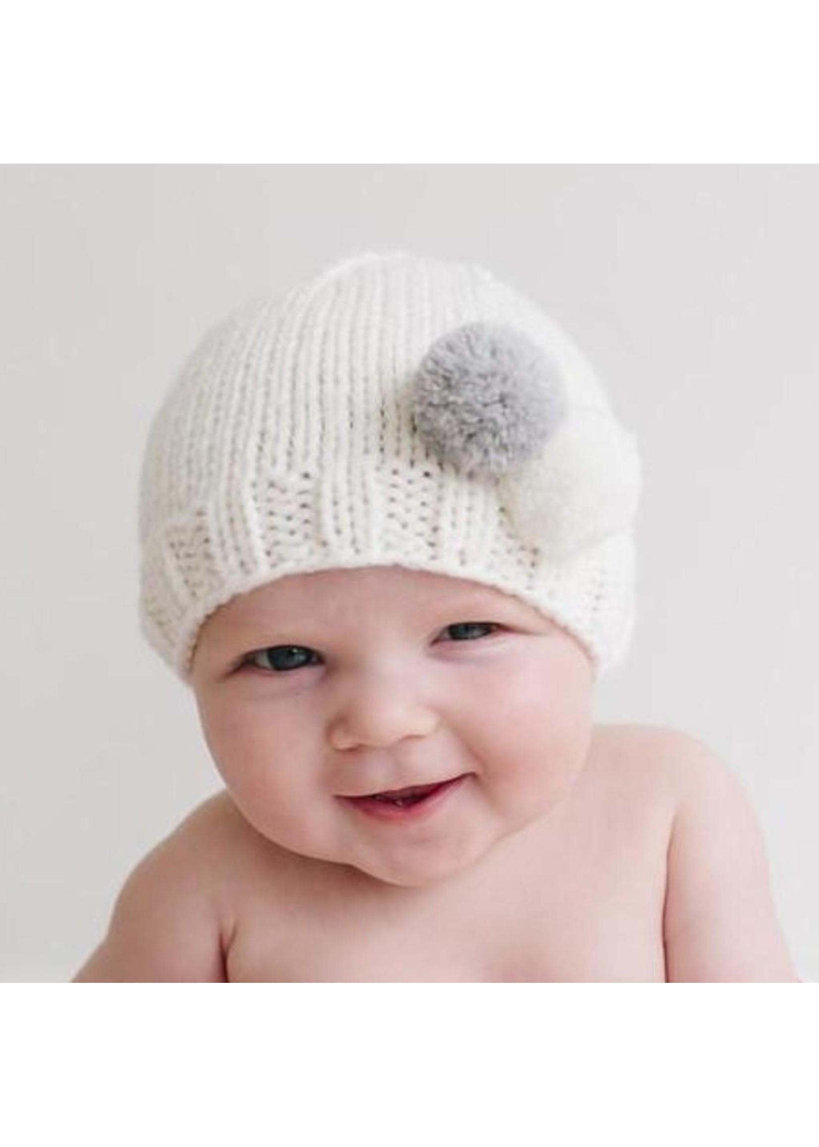 Grey Tiny Pom Knit Hat