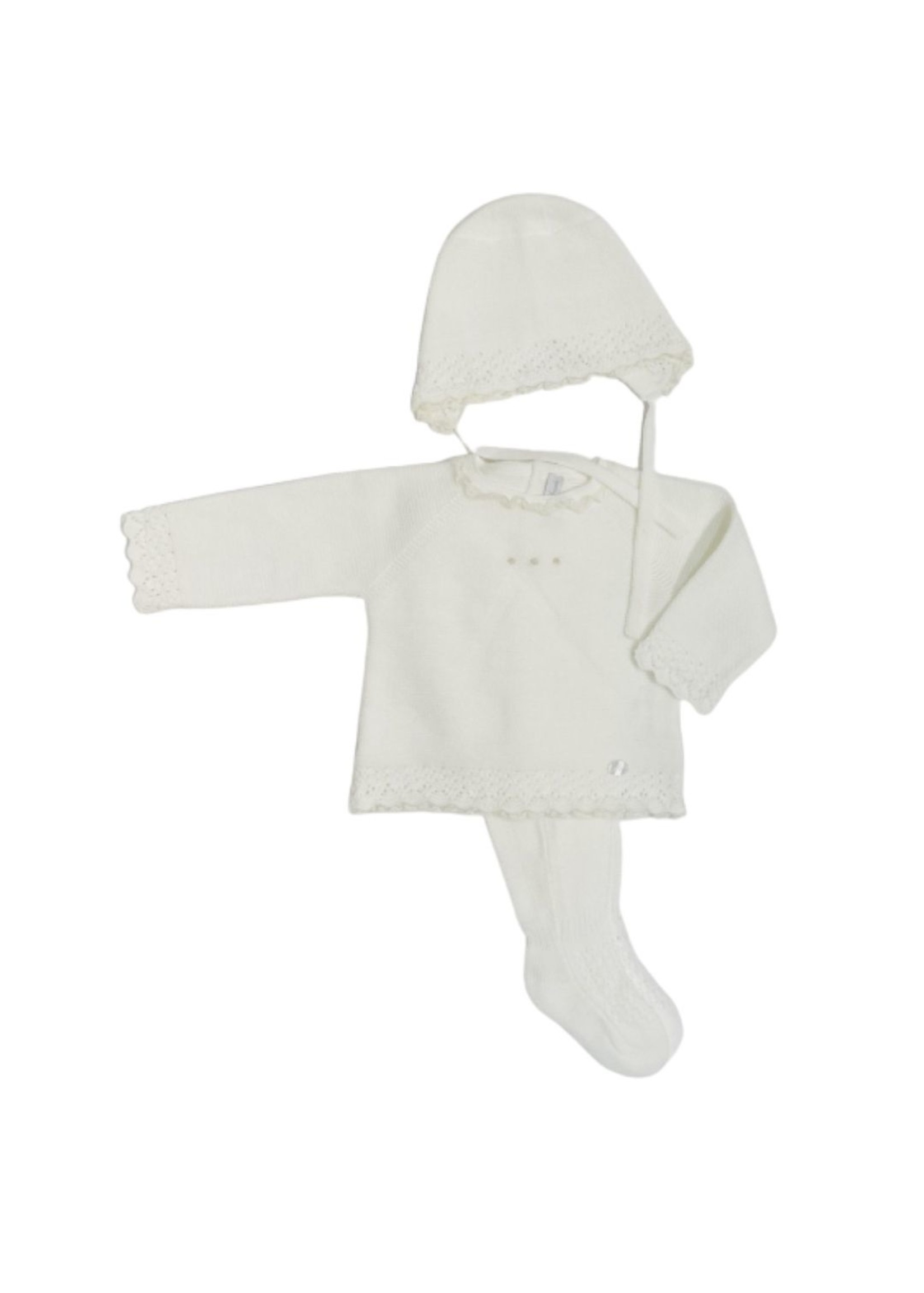 Ivory Knit Sweater Legging and Bonnet Set