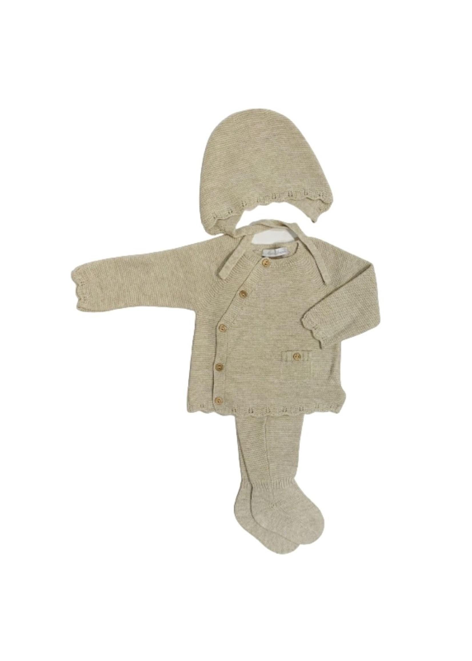 Golden Knit Sweater Legging and Bonnet Set