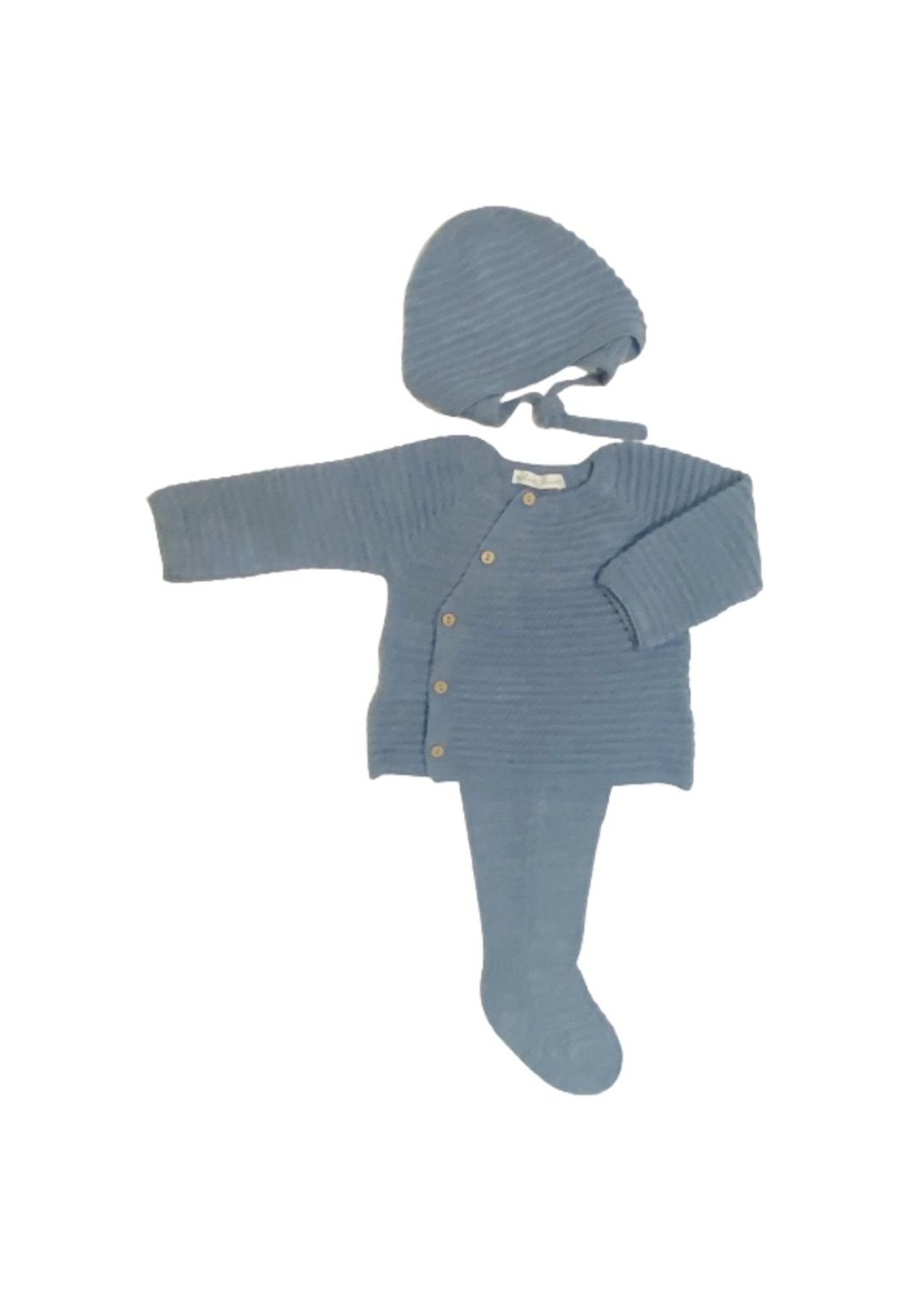 Blue Knit Sweater Legging and Bonnet Set