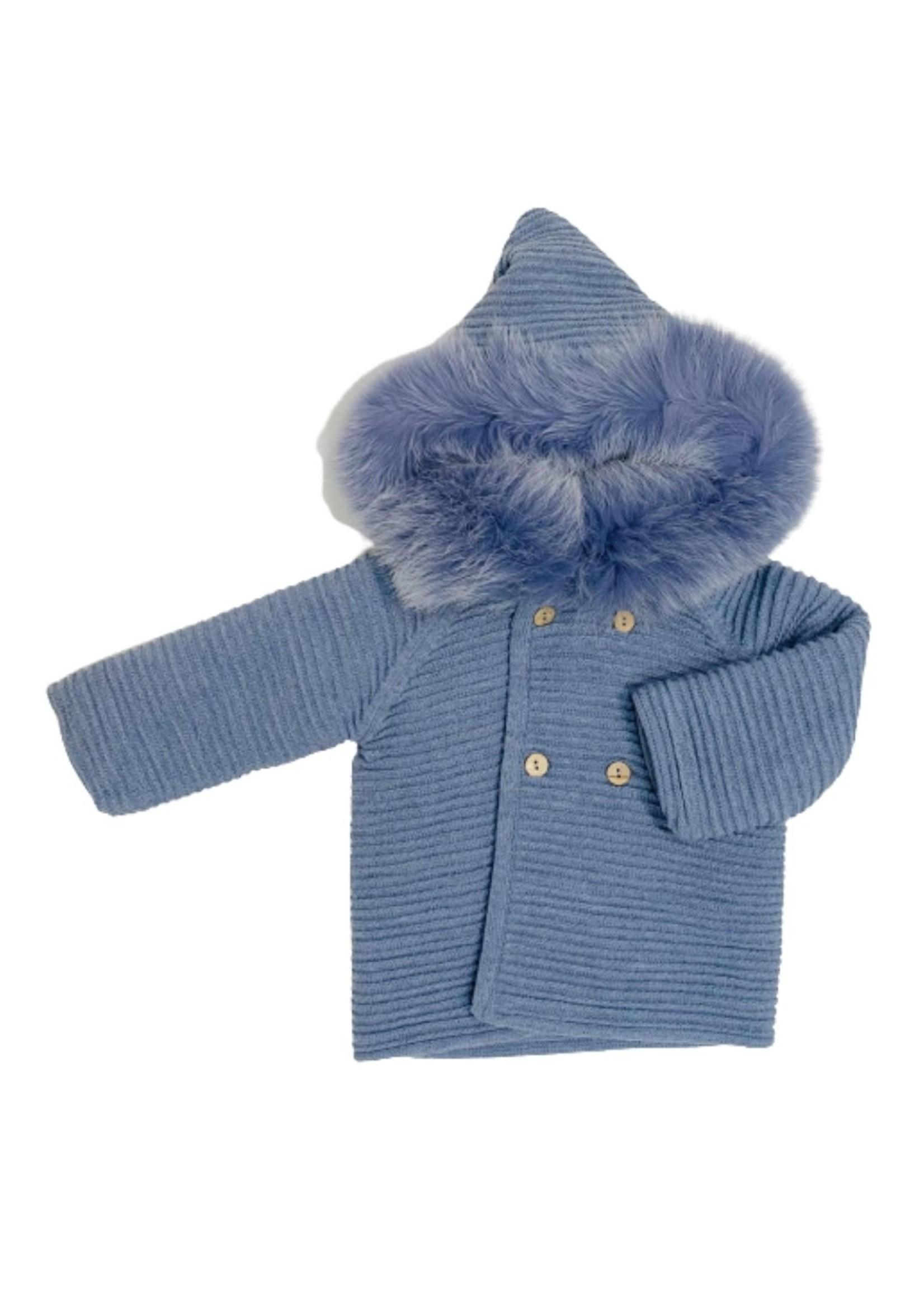 Blue Knit Fur Hood Jacket