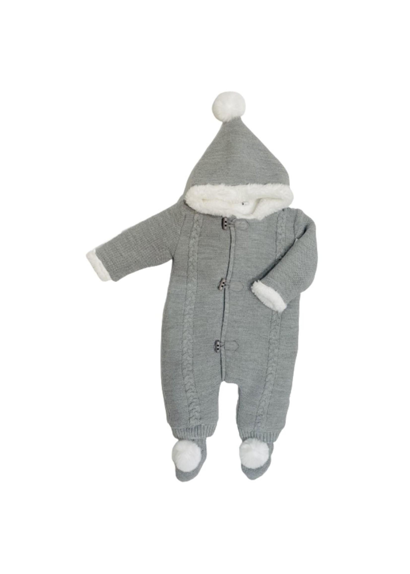 Grey Knit and Fur Snowsuit