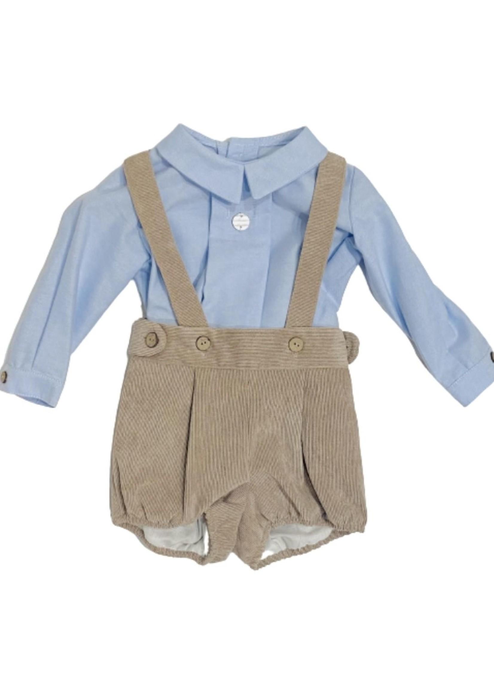 Shirt and Corduroy Overall Set