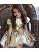 Halabaloo Halabaloo Gold Puff Sleeve Dress