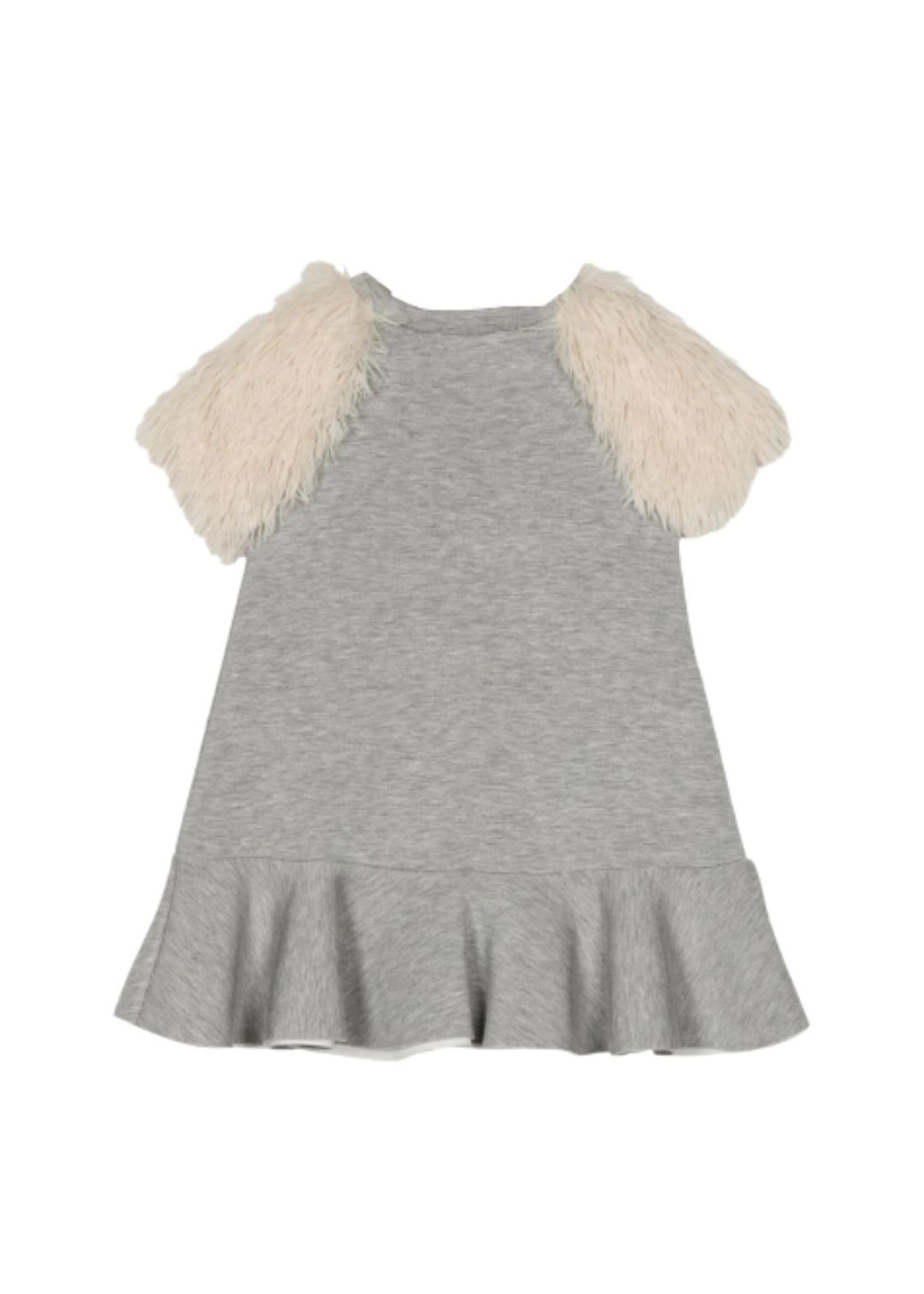 Halabaloo Halabaloo Fur Sleeve Dress
