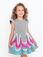 Halabaloo Halabaloo Multicolor Ruffle Scuba Dress