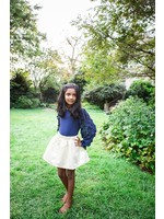 Little Olin Little Olin Brocade Skirt & Navy Top Set