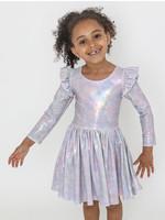 Halabaloo Halabaloo Silver Iridescent Ruffle Dress