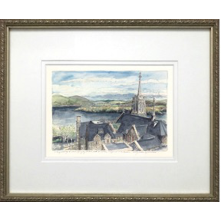 "Framed ""Above the Catholic Chapel, To The Hudson"" (M. Mullin)"